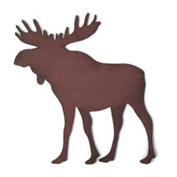 Moose Wall Decor rustic cabin sign, lodge decor, wall hanging hand painted wood in chocolate brown, moose antlers