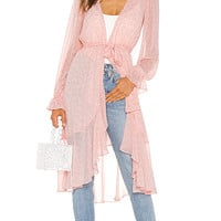LPA Ruffle Duster With Peasant Sleeve in Pink Leopard | REVOLVE