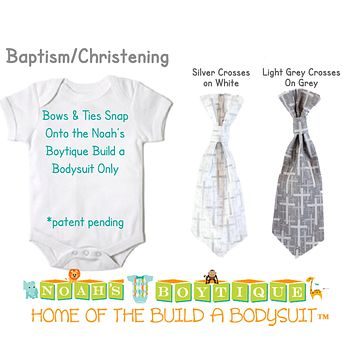 Baptism Christening Snap On Ties and Bow Ties by Noah's Boytique