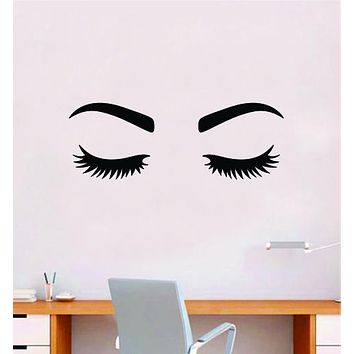 Lashes and Brows V6 Girls Wall Decal Sticker Vinyl Home Decor Bedroom Art Makeup Cosmetics Eyes Eyebrows Eyelashes Vanity Beauty