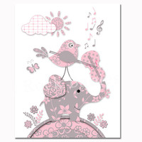 Elephant playing violin nursery poster music wall art for baby girl room print pink grey artwork toddler newborn gift baby shower decor