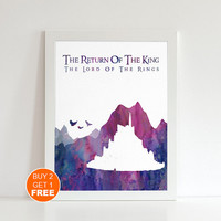 The Return of the king watercolor Lord of the Rings Middle earth illustration art print, Tolkien middle earth print Holiday gift LOTR