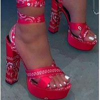 Explosive style hot sale fashion print strap thick heel high heels