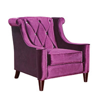 Armen Living Barrister Chair In Purple Velvet With Crystal Buttons