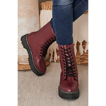 IMPERFECT Bold As Ever Platform Combat Boots (Wine)