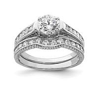Sterling Silver 2-Piece CZ Promise Wedding Ring Set