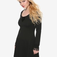 Black Long-Sleeved Lace Trim & Velvet Lace-Up Dress
