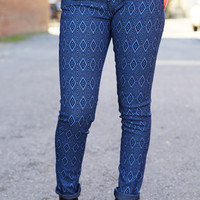 Indigo Geometric Jeggings