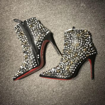 DCCK Christian Louboutin red sole classic rivet Roller Boat CL high heel boots for women 90515