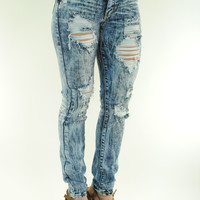 (ans) Distressed acid wash high waist jeans