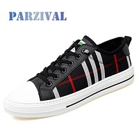 PARZIVAL Men Fashion Sneakers Fashion Mens Breathable Skateboard Shoes High Quality Trainers Shoes Casual Genuine Leather Shoes
