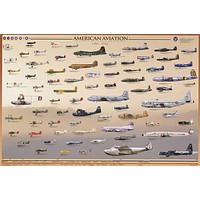 American Aviation 1903-1945 Education Poster 24x36