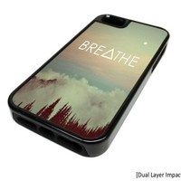 Apple Iphone 5 or 5s Breathe Mountain Moon Dual Layer Impact Protector Rugged Tough Case Cover Skin Hipster Cute Design Black Rubber Silicone Teen Gift Vintage Hipster Fashion Design Art Print Cell Phone Accessories