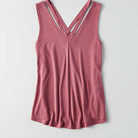 AEO Strappy V-Neck Tank , Burgundy