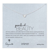 Dogeared Pearls of Beauty White Pearl Necklace, Sterling Silver 16 inch