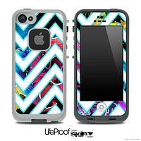 Large Chevron and Neon Floral Skin for the iPhone 5 or 4/4s LifeProof Case