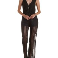 Black Sleeveless Lace Flare Jumpsuit by Charlotte Russe