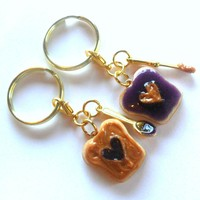 Miniature Food Peanut Butter and Jelly Heart Keychain Set, With Knife & Spoon, Gold Tone, Best Friend's Keychains, BFF :)