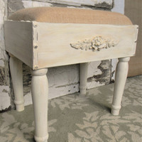 Foot stool,Upholstered Foot Stool,Shabby Cottage Decor,French Country Decor,Small Ottoman,Wooden Foot Stool,Painted Foot Stool,Footstool