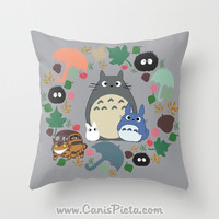 Totoro Kawaii My Neighbor Throw Pillow 16x16 Cover Anime Decorative Soot Catbus Grey Blue White Manga Troll Hayao Miyazaki Studio Ghibli