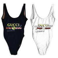 Gucci Fashion Sexy Letter Logo Print Swimmer Swim Vest Shirt V Neck Women Bottoming Clothes Bikini