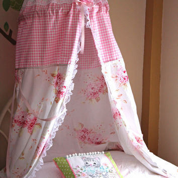 Bed Canopy - Play Tent  - Kids Tent Canopy - Hanging Canopy - Reading Nook - Canopy Tent Girls Shabby Chic Canopy - Crib Canopy