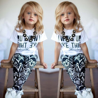 Kids Girls 2PCS Clothes Short Sleeved Letter T-Shirt + Pants Outfits Sets 1-7Y = 5617189505
