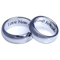 Couples Ring Two Rings Love Now and Forever High Quality Etched Stainless Steel Ring. Hypo-allergenic. Inspirational Relationship Jewelry: Jewelry: Amazon.com