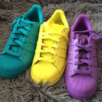 """Fashion """"Adidas"""" Shell-toe Flats Sneakers Sport Shell-toe Pure color Shoes (7-Color)"""