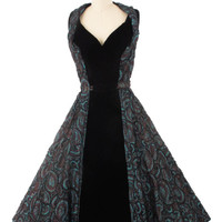 50's Bronze Blue Jacquard & Black Velvet Party Dress