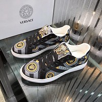 Versace  Men Fashion Boots fashionable Casual leather Breathable Sneakers Running Shoes