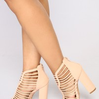 Cage Me In Block Heel - Nude