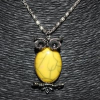 Silver/ Yellow Oval Stone Owl Pendant Necklace