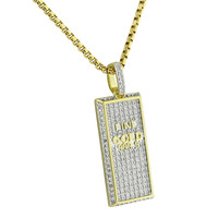 Fine Gold Bar Design Pendant 14K Yellow Gold Finish Simulated  Diamonds Stainless Steel Chain