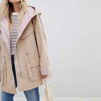 ASOS Waterfall Parka with Contrast Liner at asos.com