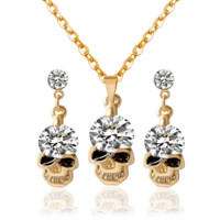 1 Set New Women Gifts Lady Rhinestone Skull Crystal Pendant Necklace + Earrings Ear Studs Jewelry Sets For