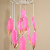 Corral Pink Feathers Dreamcatcher Baby Mobile, Baby Girl Nursery Decor, Baby Shower Gift, Corral Nursery Decor