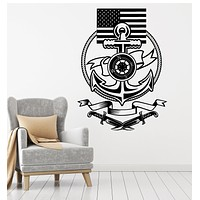 Vinyl Wall Decal Ship Steering Wheel Anchor American Flag Stickers Mural (g3995)