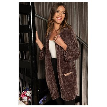 Hello Beautiful! Snuggly Soft Brown Olive Chenille Cardigan