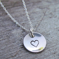 Minimalist Necklace Hand Stamped Tiny Charm Personalized Domed Cupped Sterling Silver Heart Love Simple Custom Personalized Disc Round