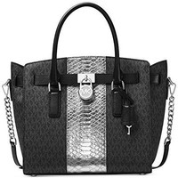 MICHAEL Michael Kors Hamilton Embossed-Leather and Logo Satchel