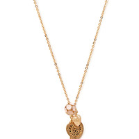 FOREVER 21 Eiffel Tower Charm Necklace Gold/Pink One