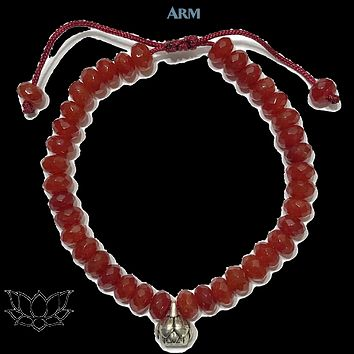 AWAKENING POTENTIAL | Red Agate | Lotus Adjustable Pull-Tie Bracelet