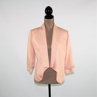 Open Jacket Women Small Rayon Jacket Hipster Blush Pink Peach 3/4 Sleeve Jacket Vintage Clothing Womens Clothing
