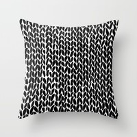 Hand Knitted Black S Throw Pillow by Project M