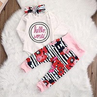 Newborn Infant Baby Girl Printed Outfits Hello Romper+Leggings+hairband  3pcs suit kids Girls Clothes Set 0-18M