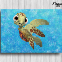 squirt finding nemo print nautical painting nursery wall decor turtle art