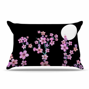 """Julia Grifol """"Cherry Blossom At Night"""" Pink Black Pillow Case"""
