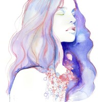 "Giclee Print of Watercolour Painting, Fashion Illustration. Titled - Natalia 19"" x 13"""