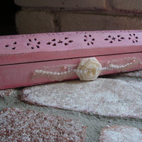 Pink Shabby Chic Incense Burner/Coffin, Wooden Box/Ash Catcher/Cone Holder. Cottage Chic